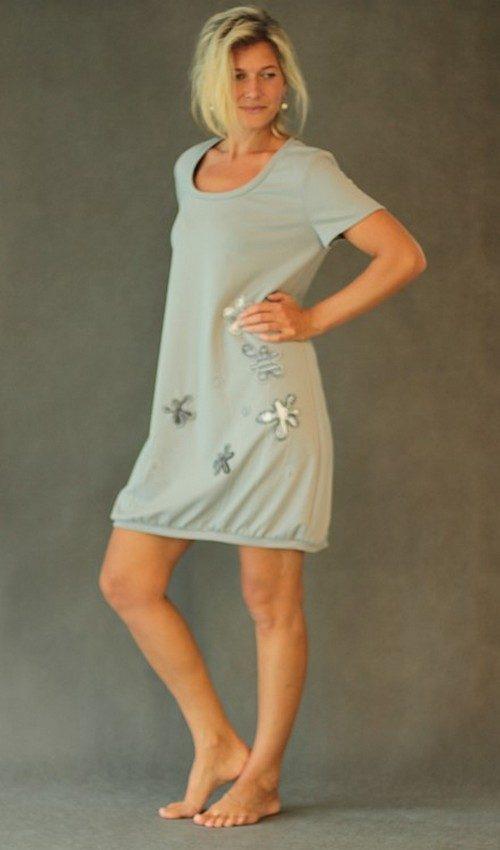 handgemachte Mode – LaJuPe - Kleid grau festlichúpletové šaty světle šedé aplikace šedé květiny