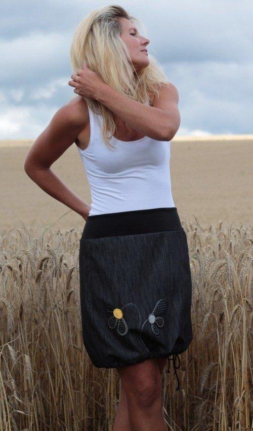 handgemachte Mode – LaJuPe - Jeansrock grau kurz