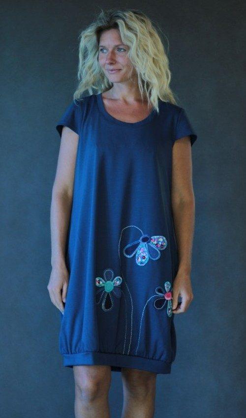 handgemachte Mode – LaJuPe - Kleid blau grau