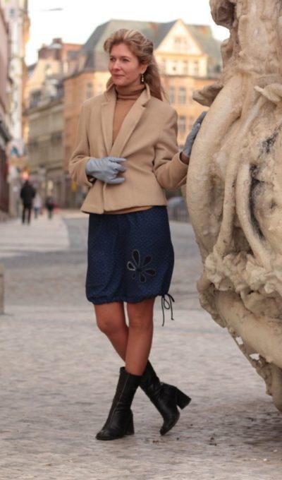 handgemachte Mode – LaJuPe - blauer langer Rock