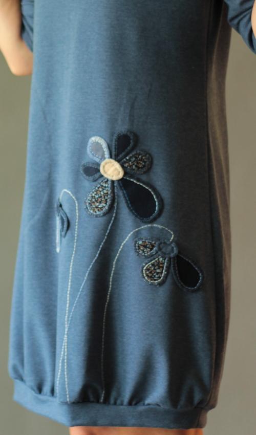 grau blaues Kleid - Originale handgemachte Mode nach Maß