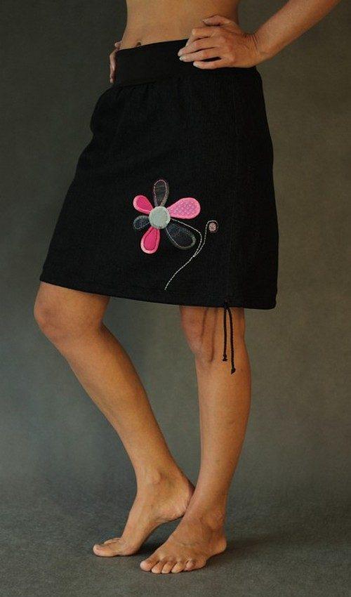 handgemachte Mode – LaJuPe - Damen Rock schwarz knielang