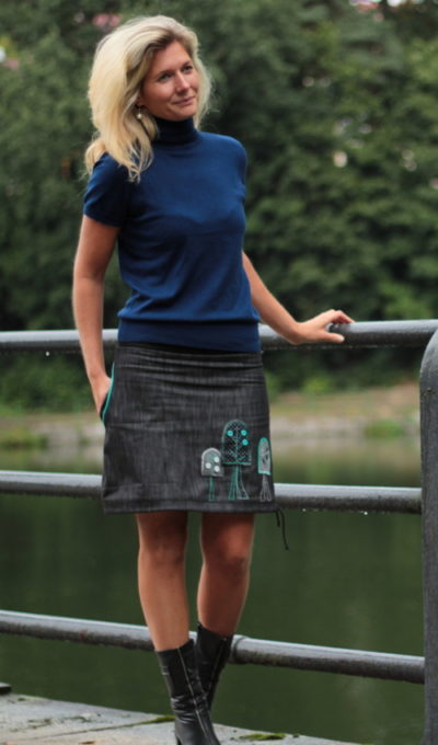 handgemachte Mode – LaJuPe - Rock grau kurz