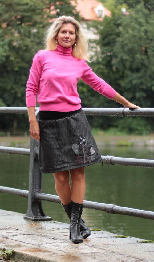 handgemachte Mode – LaJuPe - Jeansrock grau Damen