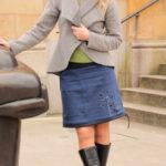 handgemachte Mode – LaJuPe - Rock dunkelblau knielang