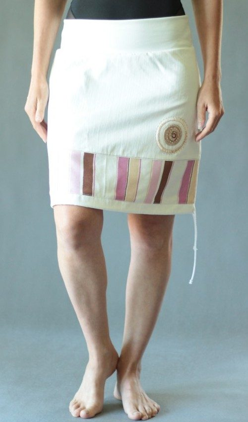 handgemachte Mode – LaJuPe - weißer Jeansrock knielang