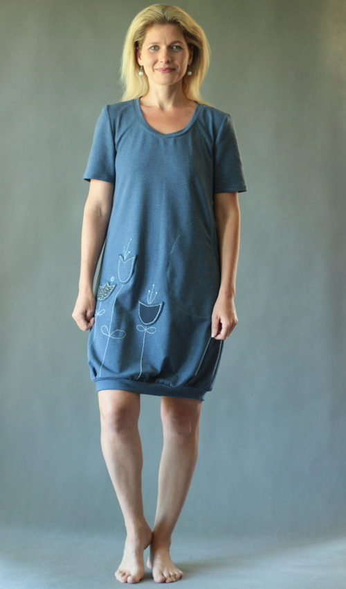 handgemachte Mode – LaJuPe - blau graues Kleid