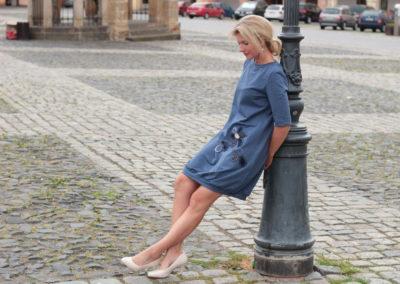 handgemachte Mode – LaJuPe - grau blaues Kleid