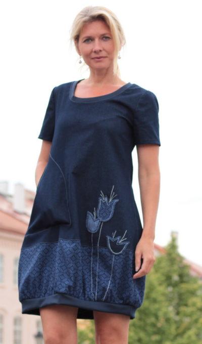 handgemachte Mode - LaJuPe dunkelblaues Kleid kurz
