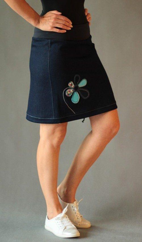 handgemachte Mode – LaJuPe - Rock blau knielang