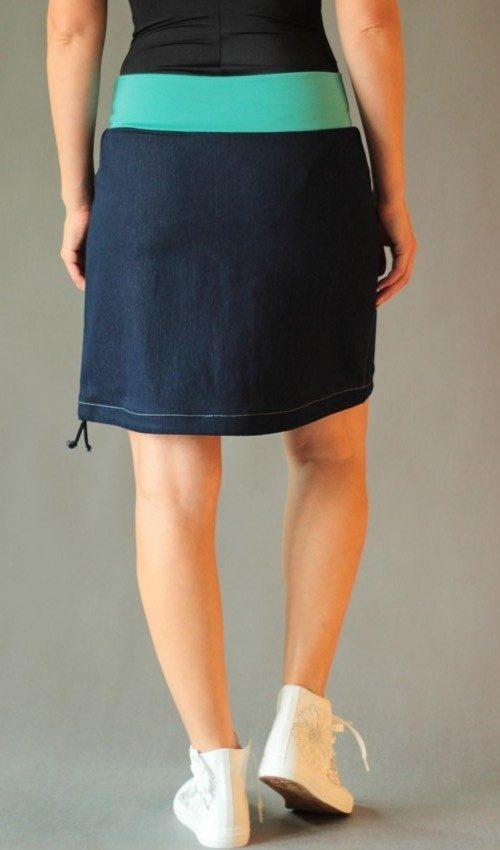 LaJuPe dámská maxi sukně bavlna_polyester_bez_podšívky_modrá_tyrkys_áčková_1kapsa_tunýlek_modrá_tyrkysovorůžová_kytka_půlkvět