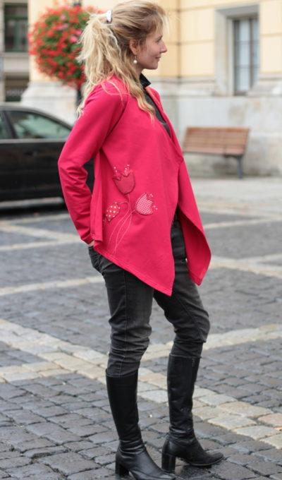 handgemachte Mode – LaJuPe - rote Strickjacke