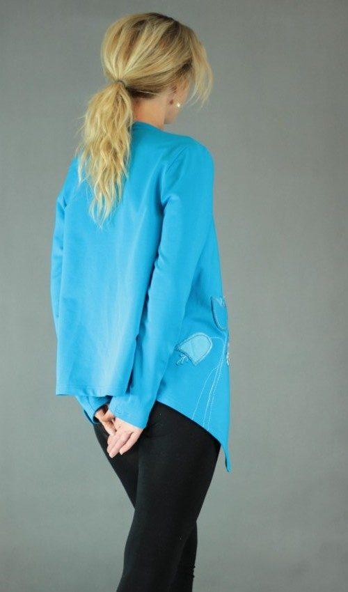handgemachte Mode – LaJuPe - Strickjacke Damen blau